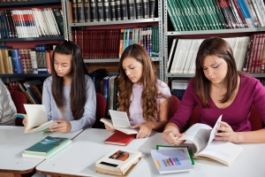 Teens in library