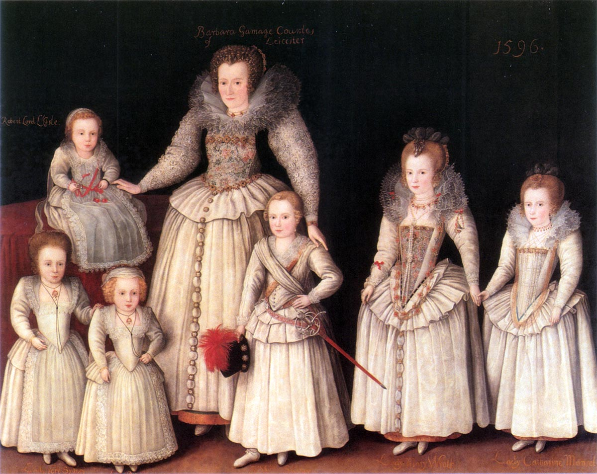 Renaissance painting: Barbara Gamage with Six Children by Marcus Gheeraerts the Younger