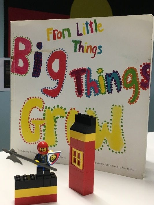 From Little Things Big Things Grow picture book and Little Warrior Jay made from Lego
